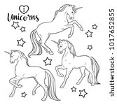 magic unicorns and stars set... | Shutterstock .eps vector #1017652855
