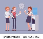 office cooler chat. young... | Shutterstock .eps vector #1017653452
