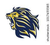 wild lion head mascot roaring...   Shutterstock .eps vector #1017655585
