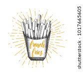 hand drawn doodle french fries... | Shutterstock .eps vector #1017665605