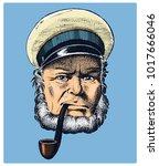 sea captain  marine old sailor... | Shutterstock .eps vector #1017666046
