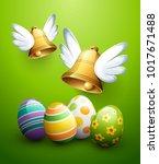 flying easter bells and eggs | Shutterstock .eps vector #1017671488