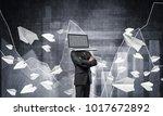 businessman in suit with laptop ...   Shutterstock . vector #1017672892
