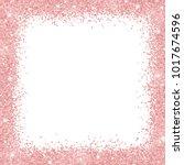 Stock vector border frame with rose gold glitter on white background vector 1017674596