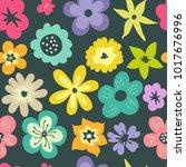 hand drawn flower background... | Shutterstock . vector #1017676996