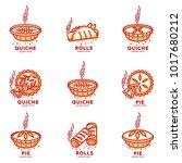 meat pie  roll  quiche vector... | Shutterstock .eps vector #1017680212
