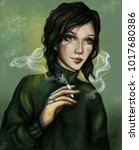 a smoking girl with a cigarette ... | Shutterstock . vector #1017680386