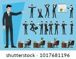 set of businessmen in different ... | Shutterstock .eps vector #1017681196