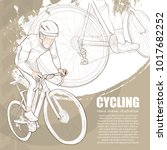 illustration of cycling. hand... | Shutterstock .eps vector #1017682252