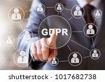 businessman presses button gdpr ... | Shutterstock . vector #1017682738