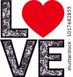 love heart lace | Shutterstock .eps vector #1017682855