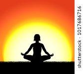 yoga lotus pose black... | Shutterstock .eps vector #1017686716