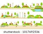 people different activities...   Shutterstock .eps vector #1017692536