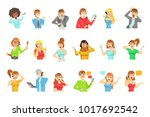 people speaking on the phone... | Shutterstock .eps vector #1017692542