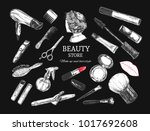 beauty store background with... | Shutterstock .eps vector #1017692608