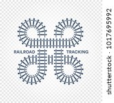 railroad tracking road junction ... | Shutterstock .eps vector #1017695992