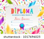 vector template of kids diploma ... | Shutterstock .eps vector #1017696025
