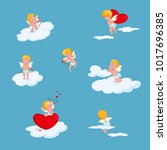 valentine day amour love cupid... | Shutterstock .eps vector #1017696385