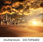 a fabulous lost city in the... | Shutterstock . vector #1017696682