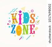 kids zone logo. vector emblem... | Shutterstock .eps vector #1017698002