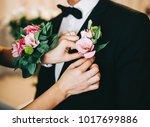 wedding morning  the groom is... | Shutterstock . vector #1017699886