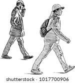sketch of casual urban... | Shutterstock .eps vector #1017700906
