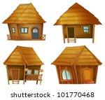 Illustraiton On Huts On White...