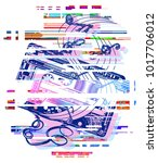 glitch audio cassette and music ... | Shutterstock .eps vector #1017706012