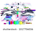 hands glitch tattoo renaissance.... | Shutterstock .eps vector #1017706036