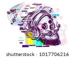 skull glith tattoo and t shirt... | Shutterstock .eps vector #1017706216