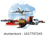 transportation  import export... | Shutterstock . vector #1017707245