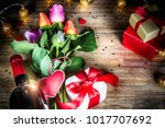bouquet of multicolor roses... | Shutterstock . vector #1017707692