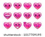 cute cartoon pink heart emoji...   Shutterstock .eps vector #1017709195