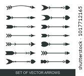 set of black hand drawn arrows... | Shutterstock .eps vector #1017712165