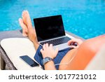 man using laptop computer by...   Shutterstock . vector #1017721012