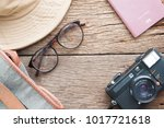 creative flat lay of eyeglasses ... | Shutterstock . vector #1017721618