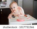 little cute girl sitting in...   Shutterstock . vector #1017731566