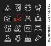 wedding line icons. modern... | Shutterstock .eps vector #1017737512