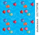 cute colorful fish swimming... | Shutterstock .eps vector #1017739708