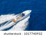 Aerial view luxury motor boat