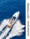 aerial view luxury motor boat | Shutterstock . vector #1017740968