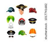 set of hats  caps and helmets.... | Shutterstock .eps vector #1017741682