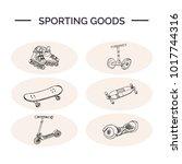 sporting goods hand drawn... | Shutterstock .eps vector #1017744316