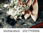 wedding concept. stylish shoes  ... | Shutterstock . vector #1017745006