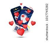 two cinema realistic ticket... | Shutterstock .eps vector #1017745282