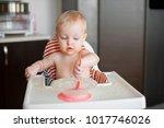 little cute girl sitting in...   Shutterstock . vector #1017746026