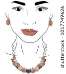 a girl in jewels. silver... | Shutterstock .eps vector #1017749626
