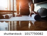architect design concept. young ... | Shutterstock . vector #1017750082