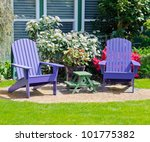 Colorful Wooden Lawn Chairs At...
