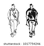 fashion man model silhouettes... | Shutterstock .eps vector #1017754246